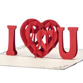 I Love You Pop-Up Any Occasion Greeting Card Blank Inside