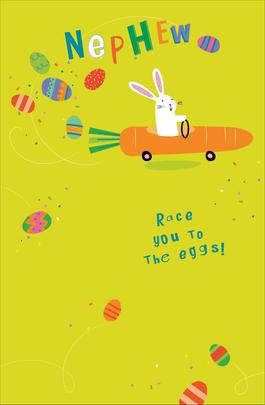 Nephew Race You To The Eggs Cute Greeting Card