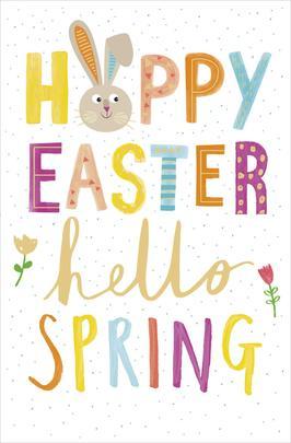 Hoppy Easter Hello Spring Cute Greeting Card