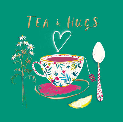 Tea & Hugs Any Occasion Greeting Card By The Curious Inksmith