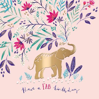 Elephant Fab Birthday Greeting Card By The Curious Inksmith
