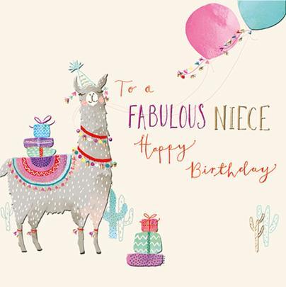 Niece Llama Birthday Greeting Card By The Curious Inksmith