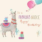 Niece Llama Birthday Greeting Card By The Curious Inksmith