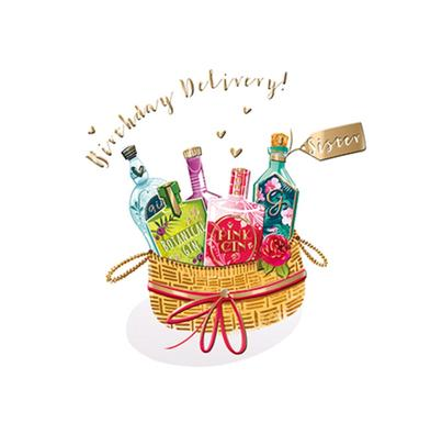 Sister Gin Basket Birthday Greeting Card By The Curious Inksmith