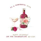 Wife Be-Gin Birthday Greeting Card By The Curious Inksmith