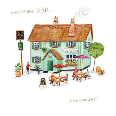 Dad Pub Birthday Greeting Card By The Curious Inksmith