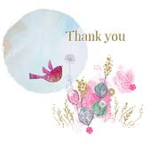 Bird & Flowers Thank You Greeting Card By The Curious Inksmith