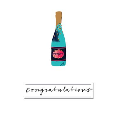 Bubbly Congratulations Greeting Card By The Curious Inksmith