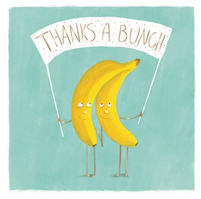Thanks A Bunch Thank You Greeting Card By The Curious Inksmith