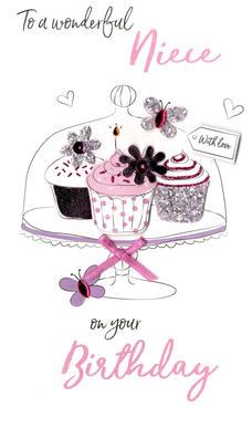 Wonderful Niece Birthday Greeting Card Hand-Finished