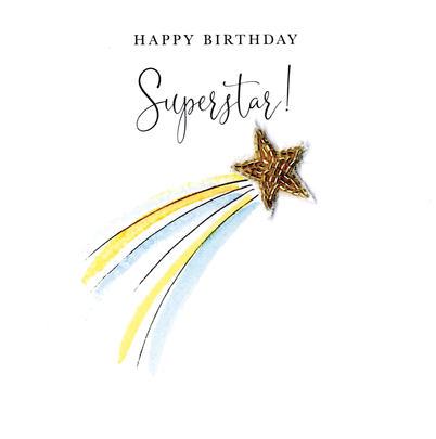 Happy Birthday Superstar Beaded Greeting Card
