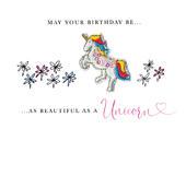 Beautiful As A Unicorn Birthday Beaded Greeting Card