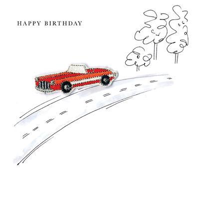 Vintage Car Happy Birthday Beaded Greeting Card