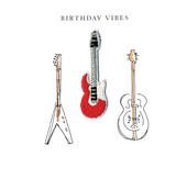 Guitars Birthday Vibes Beaded Greeting Card