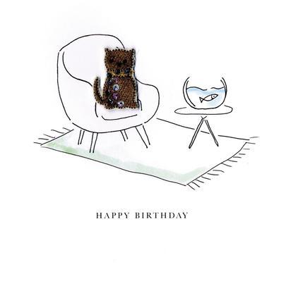 Cat & Fish Happy Birthday Beaded Greeting Card