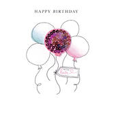Balloons With Love Happy Birthday Beaded Greeting Card