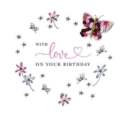 With Love On Your Birthday Beaded Greeting Card