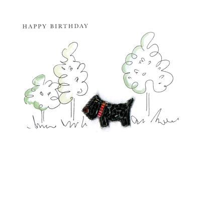 Scottie Dog Happy Birthday Beaded Greeting Card