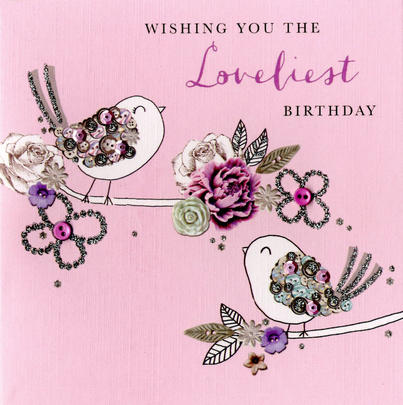 Wishing Loveliest Birthday Buttoned Up Greeting Card