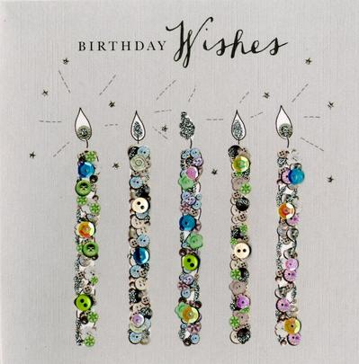 Candles Birthday Wishes Buttoned Up Greeting Card