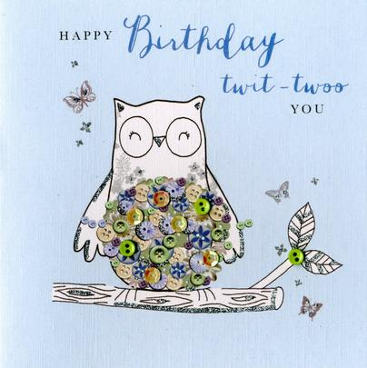 Happy Birthday Twit-Twoo You Buttoned Up Greeting Card
