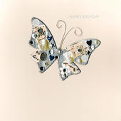 Jewelled Butterfly Birthday Greeting Card Handmade