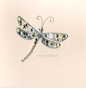 Jewelled Dragonfly Birthday Greeting Card Handmade