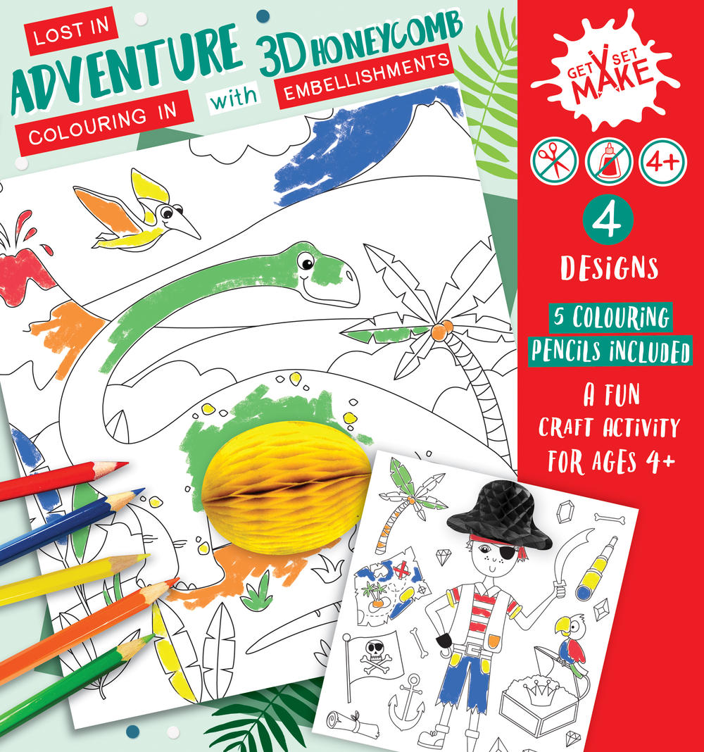 Get Set Make Lost In Adventure Colouring In Set With Honeycombs