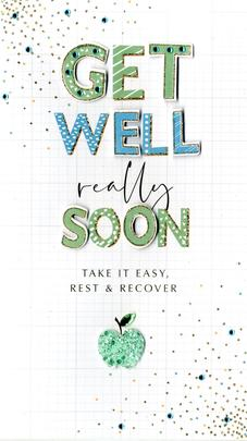 Get Well Greeting Card Hand-Finished