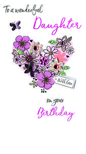 Wonderful Daughter Birthday Greeting Card Hand-Finished