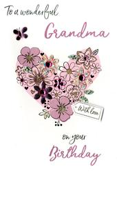 Wonderful Grandma Birthday Greeting Card Hand-Finished