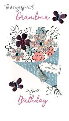 Wonderful Grandma Birthday Greeting Card Hand-Finished