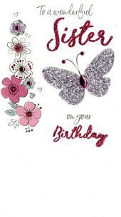 Wonderful Sister Birthday Greeting Card Hand-Finished