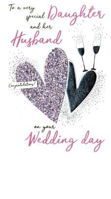Daughter & Husband Wedding  Greeting Card Hand-Finished