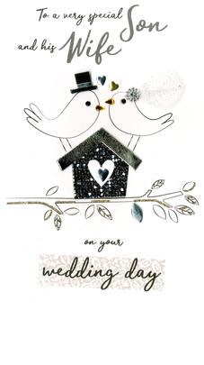 Son & Wife Wedding  Greeting Card Hand-Finished