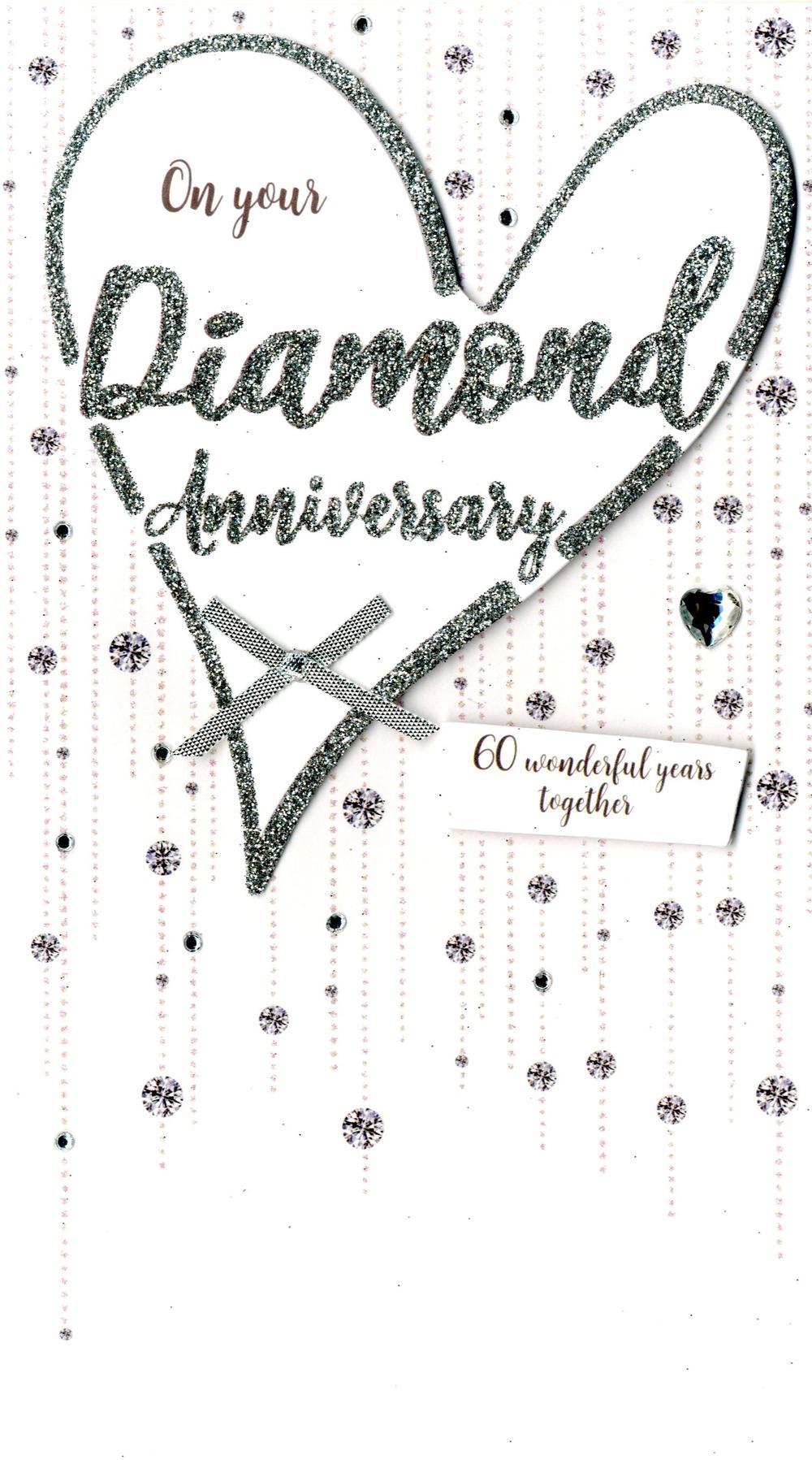 Diamond Anniversary Greeting Card Hand-Finished