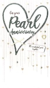 Pearl Anniversary Greeting Card Hand-Finished
