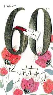 60th Birthday Greeting Card Hand-Finished
