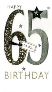 65th Birthday Greeting Card Hand-Finished