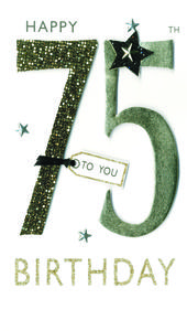 75th Birthday Greeting Card Hand-Finished