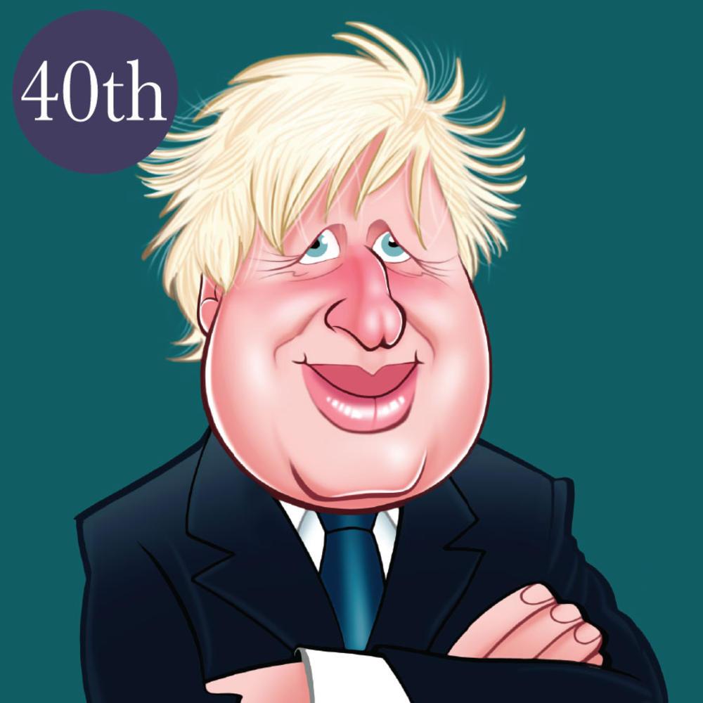 Boris Johnson 40th Birthday Greeting Sound Card Blank Inside