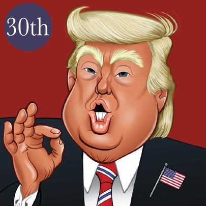 Donald Trump 30th Birthday Greeting Sound Card Blank Inside