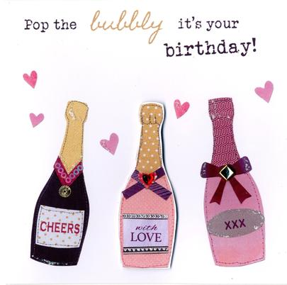 Pop The Bubbly Bright & Breezy Birthday Greeting Card