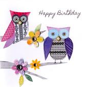 Pretty Owls Bright & Breezy Birthday Greeting Card