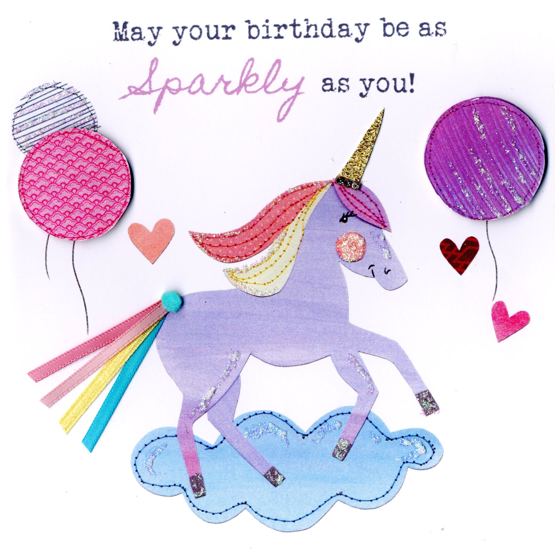 sparkly unicorn bright  breezy birthday greeting card  cards