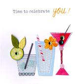 Cocktail Drinks Bright & Breezy Birthday Greeting Card