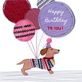 Sausage Dog Bright & Breezy Birthday Greeting Card
