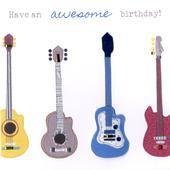 Guitars Bright & Breezy Birthday Greeting Card
