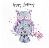 Hand-Finished Owl Birthday Greeting Card