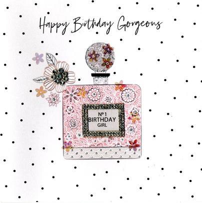 Hand-Finished Perfume Birthday Greeting Card